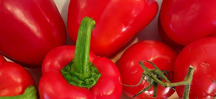 Romige soep van geroosterde paprika met mascarpone