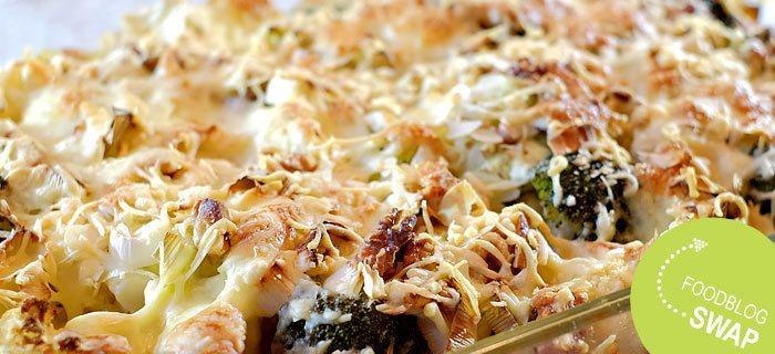 Bloemkool en broccoli ovenschotel met walnoten en mozzarella