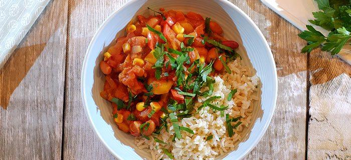 Chili sin carne met rijst
