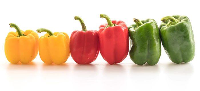 Het verschil tussen rode, oranje, gele en groene paprika's