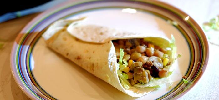Wraps met bonen, champignons, mais, gehakt en Tex Mex kruiden