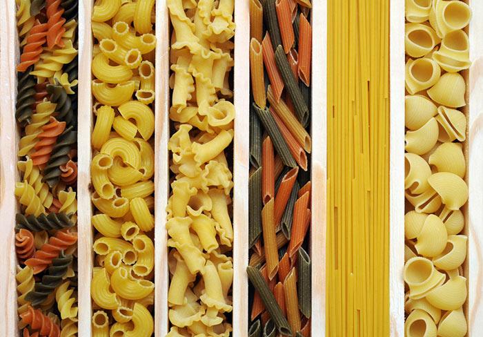 Verschillende vormen pasta