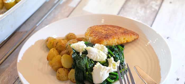 Rozemarijn krieltjes, spinazie met mozzarella en kip cordon bleu