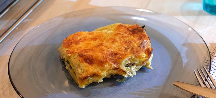 Lasagne met spinazie, champignons en pancetta