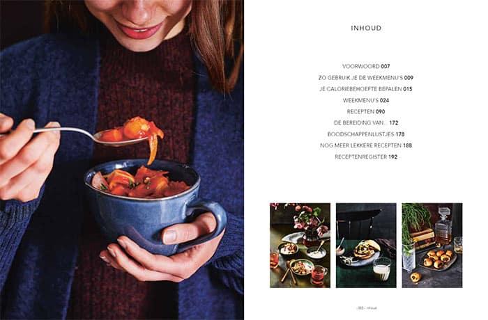 Pagina met de inhoud van het kookboek